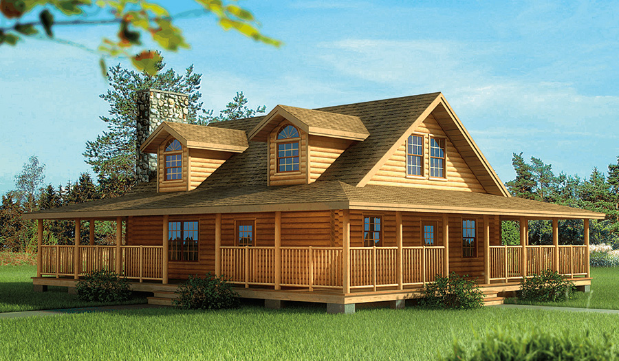 Log home and log cabin floor plan details from hochstetler for Full wrap around porch log homes