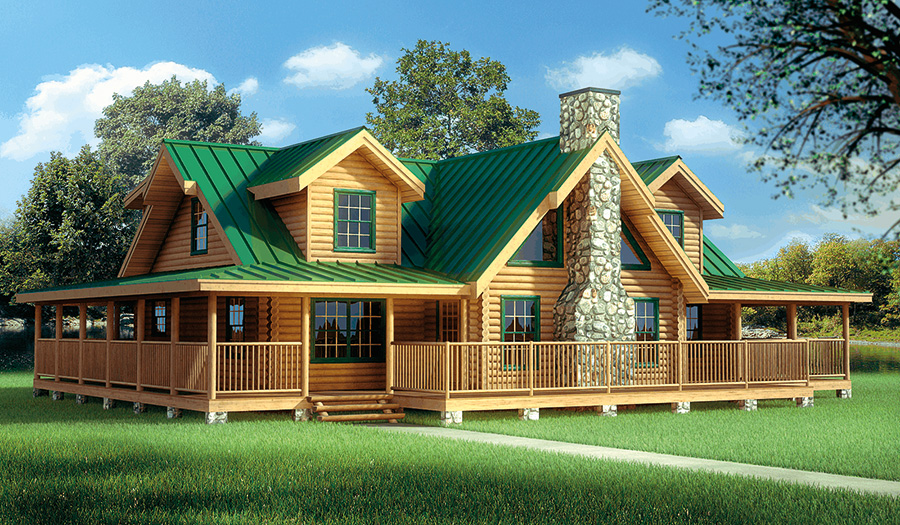 One story log home with wrap around porch house plan 2017 for Single level home with wrap around porch