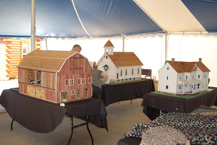 Log Cabin Days Doll, Barn, and Church Houses